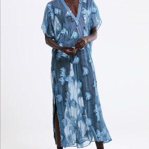 NWT Zara semi-sheer embroidered tunic SZ M